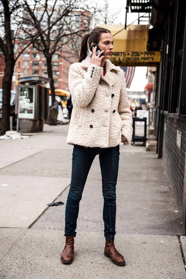 Shop this look on Lookastic: http://lookastic.com/women /looks/beige-fur-jacket-navy-skinny-jeans-dark-brown-leather-chelsea-boots/6859  — Beige Fur Jacket ...