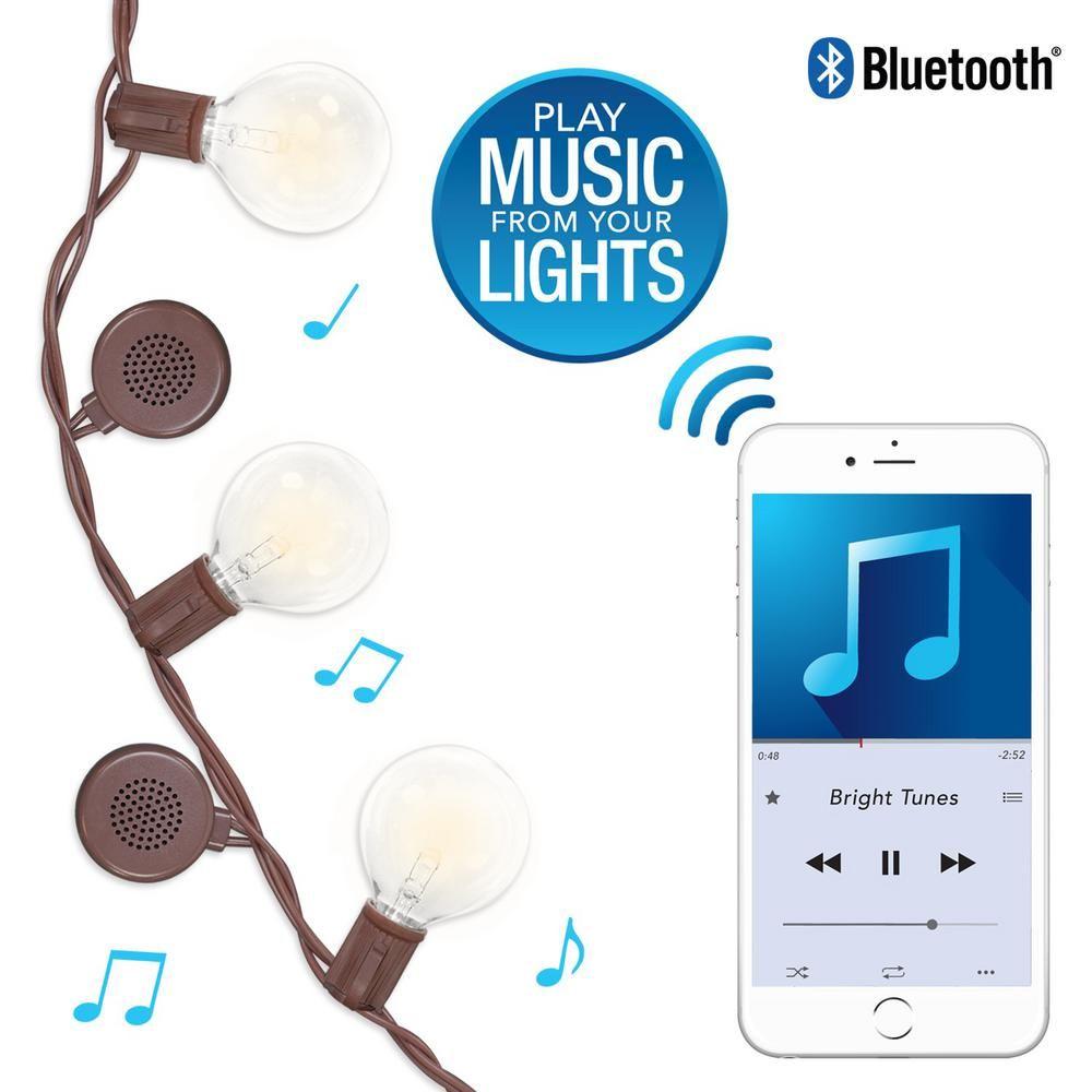 Bright Tunes 12-Bulb Warm White Bluetooth Speaker Outdoor String ...