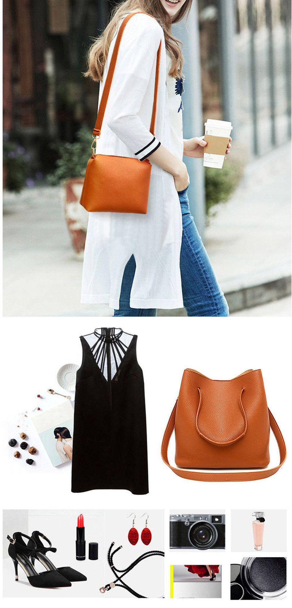 0852f9328f Bagail Women 4 PCS PU Leather Tote Bag Crossbody Bag