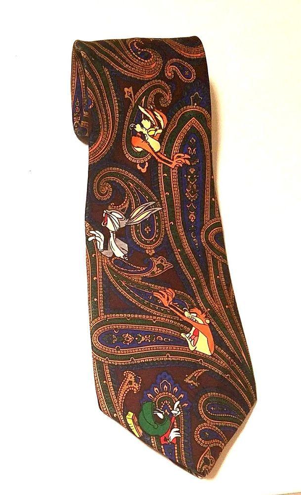 8f3983ccc631 Vintage Looney Tunes Tie 1993 Bugs Bunny Tasmanian Devil Marvin the Martian  #LooneyTunes #Tie