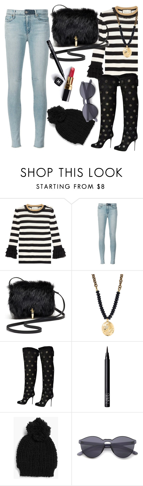 """Cry Like A Baby"" by chelsofly ❤ liked on Polyvore featuring Chanel, Gucci, RtA, Elizabeth and James, Lulu Frost, Sergio Rossi, NARS Cosmetics, Boohoo and blackshoes"