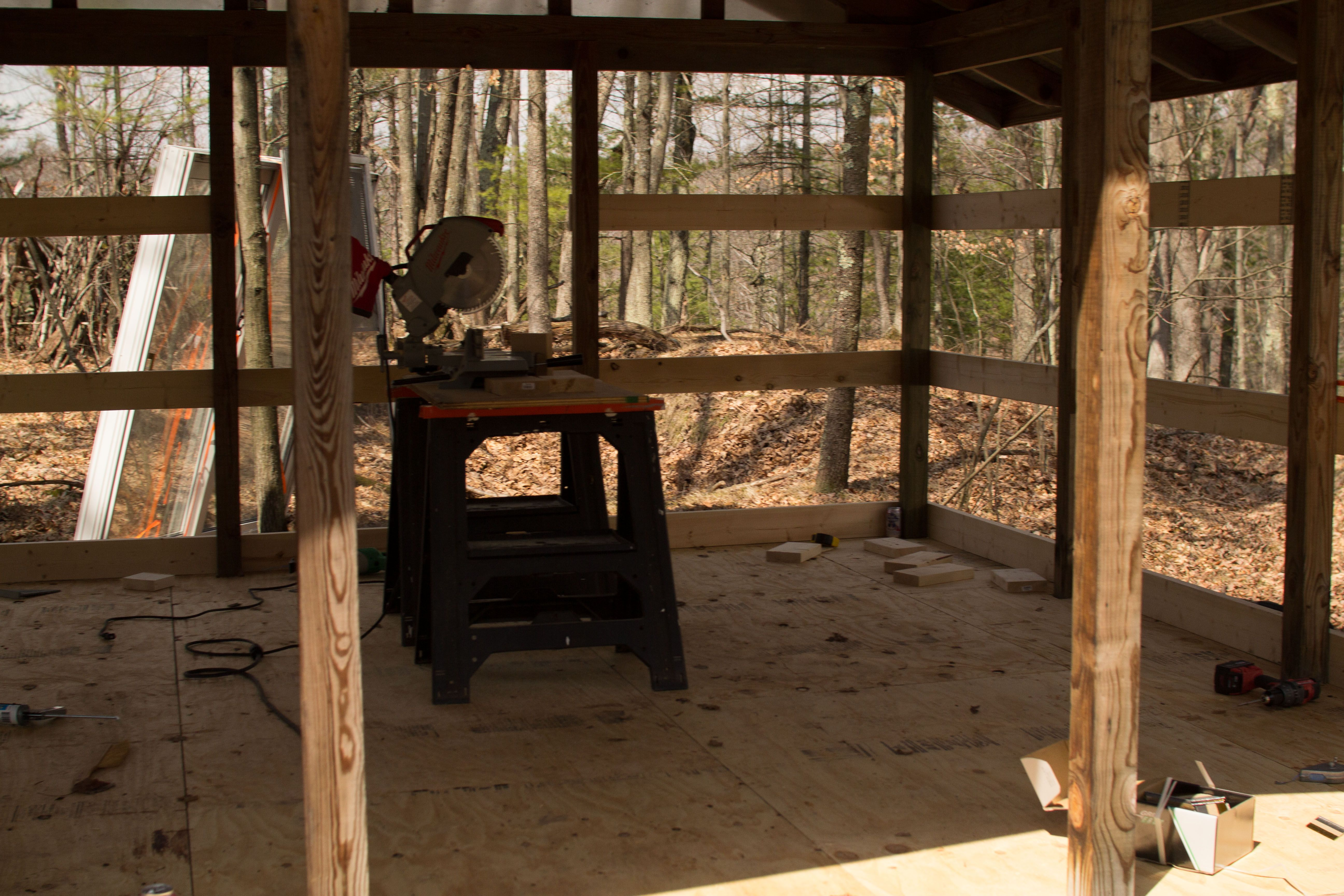 The existing post and beam construction makes things easier for framing.