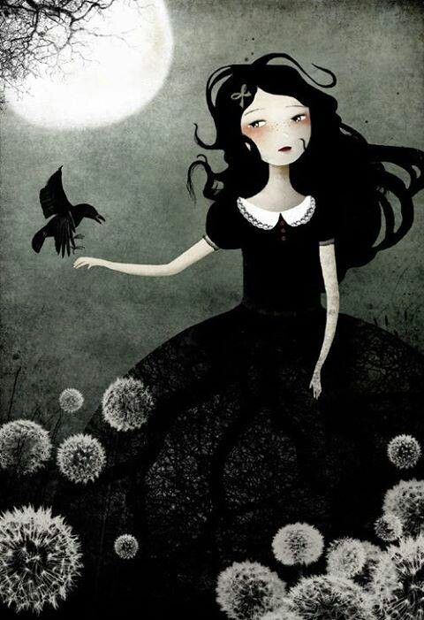 art girl blackbird moon