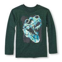 Long Sleeve T-Rex Skull Graphic Tee