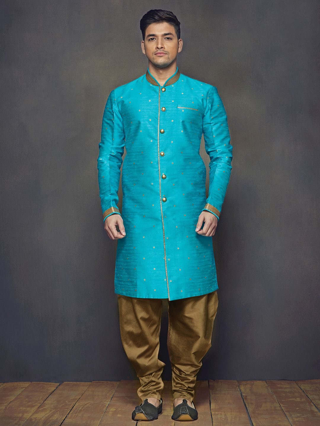 Aqua Raw Silk Wedding Wear Men Kurta Suit | Indian sherwani African ...