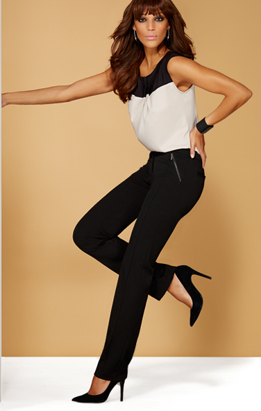 Silvertone zip pockets add a touch of city edge to these slim pants, designed with a modern, tailored fit.