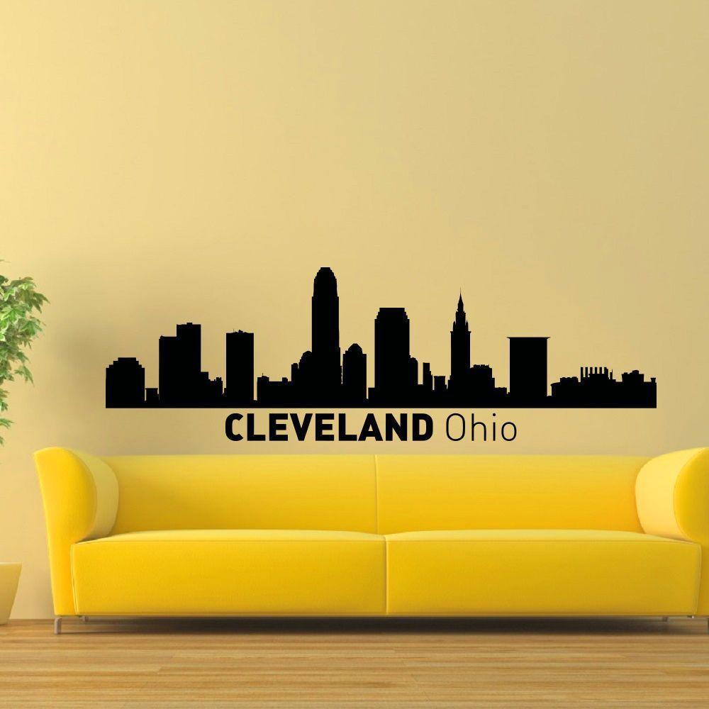 Cleveland Ohio Skyline Vinyl Wall Art Decal Sticker Cleveland - Custom vinyl decals cleveland ohio