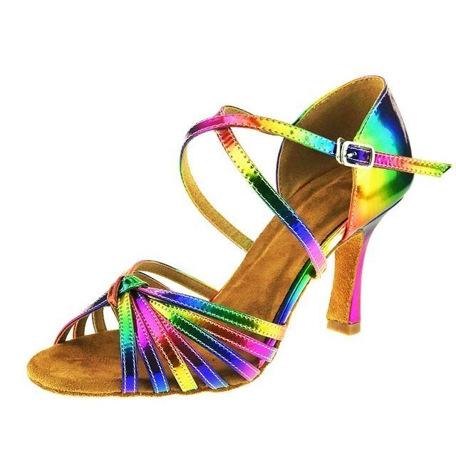 3ec447e6cf7 Free Shipping Latin salsa shoes lady dance Rainbow Color 2016 leather 8.3cm  Heel Ballroom Latin Dance Shoes women -in Dance shoes from Sports ...