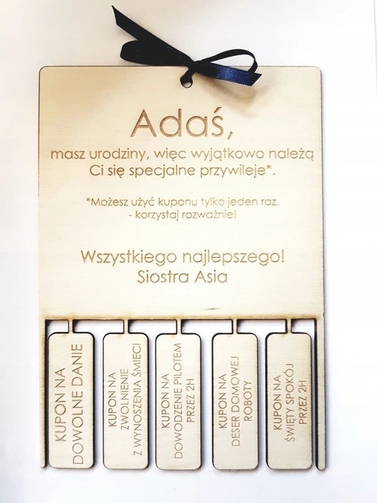 Prezent Na Urodziny Bon Kupon Voucher Gifts Place Card Holders Happy Birthday