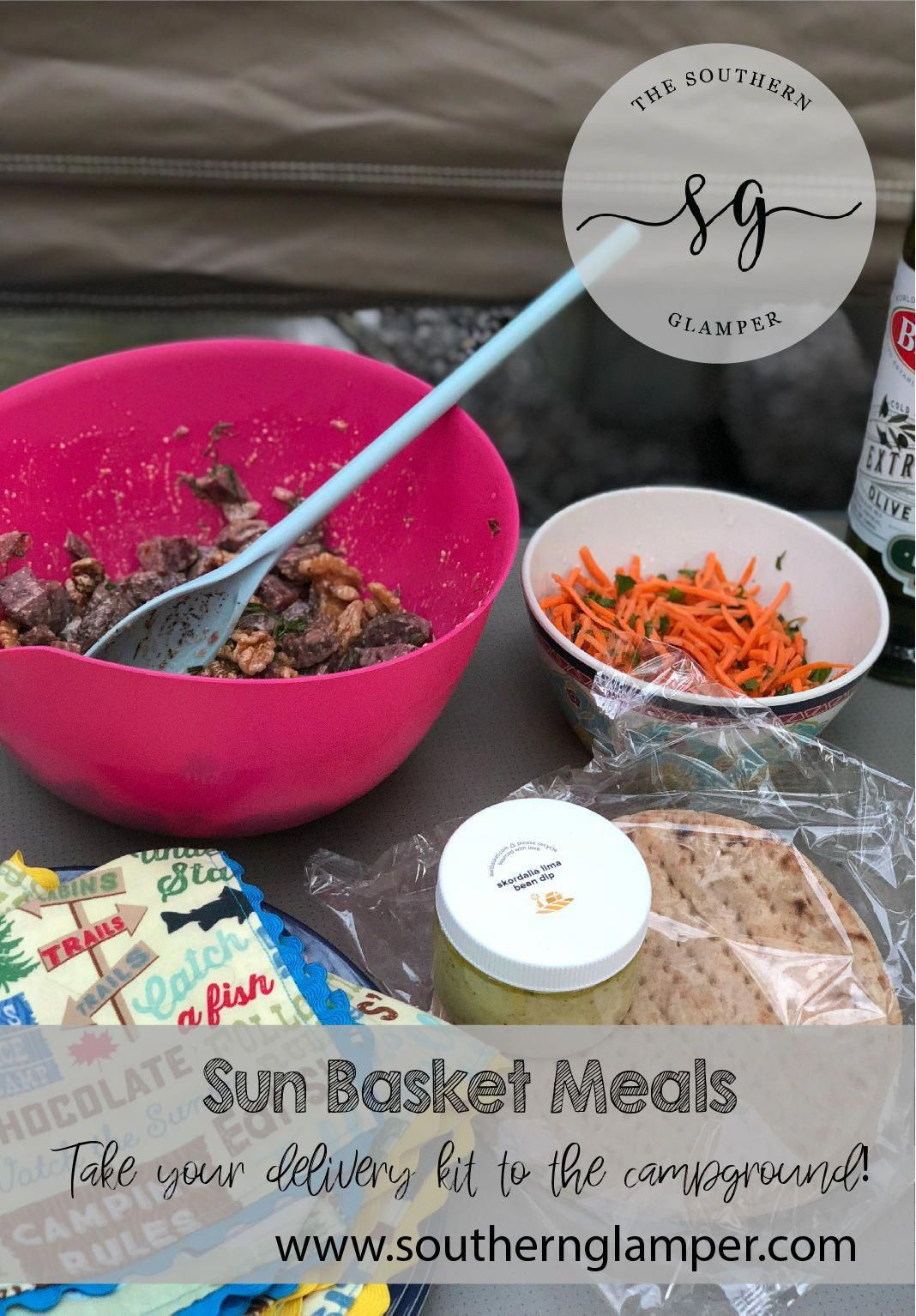 Take your Sun Basket Meal delivery kit with you to the campground for your best meals yet.  My full review and save $35 on your first box!  #sunbasket #mealdeliverykit #camping #glamping #popupcamper #healthyeating #campfirecooking #sunbasketrecipes