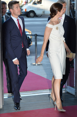 Crown Prince Frederick,  Crown Princess Mary, and Prince Joachim of Denmark attend the inaguguration of the house of foreign industry on June 10, 2013 in Copenhagen, Denmark.