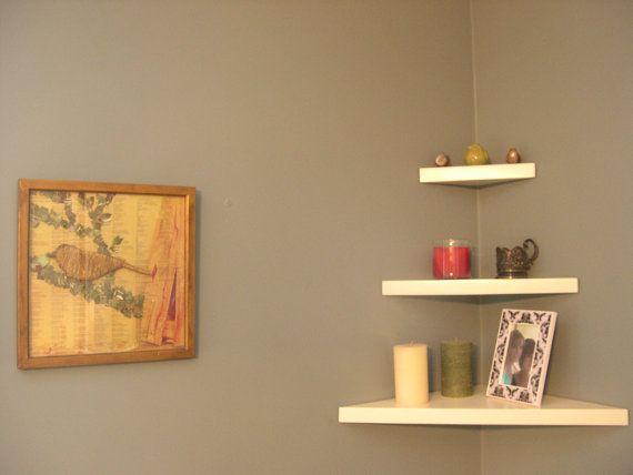 Corner Shelf Floating Solid Wood Concealed Bracket Painted Off White