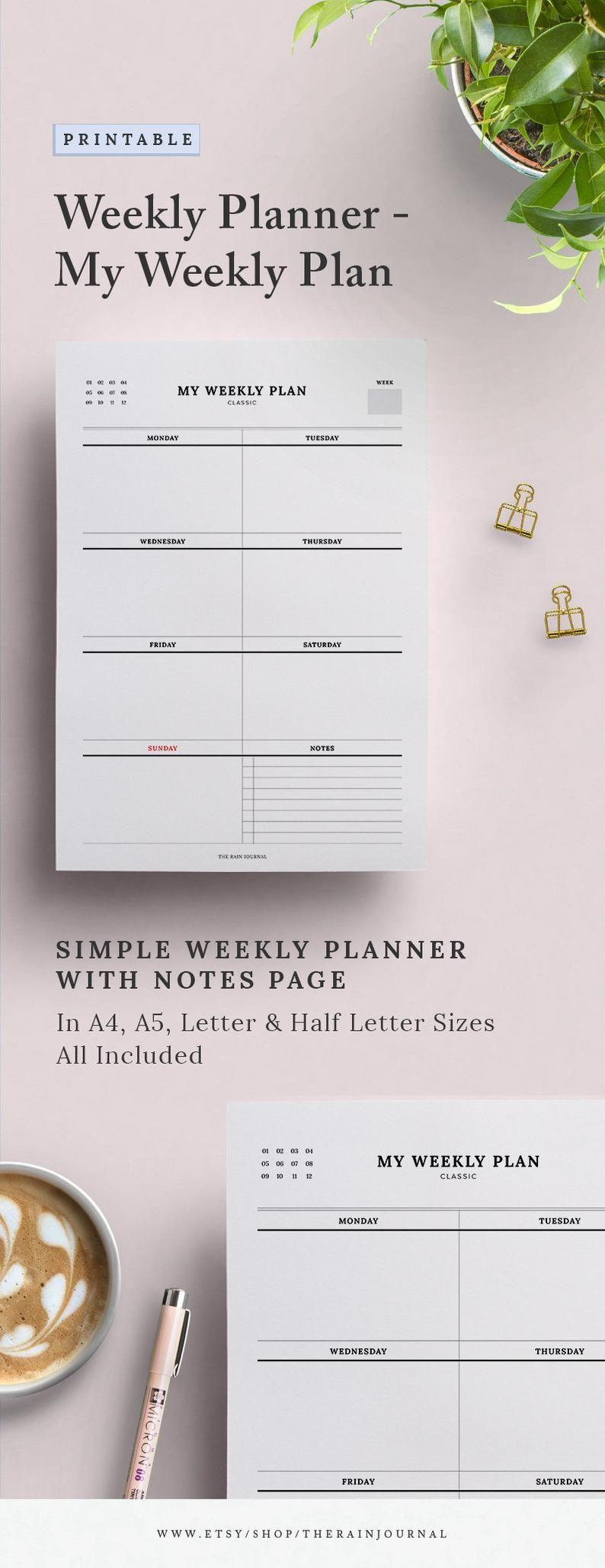 My Weekly Plan Weekly Planner Printable, Weekly Agenda