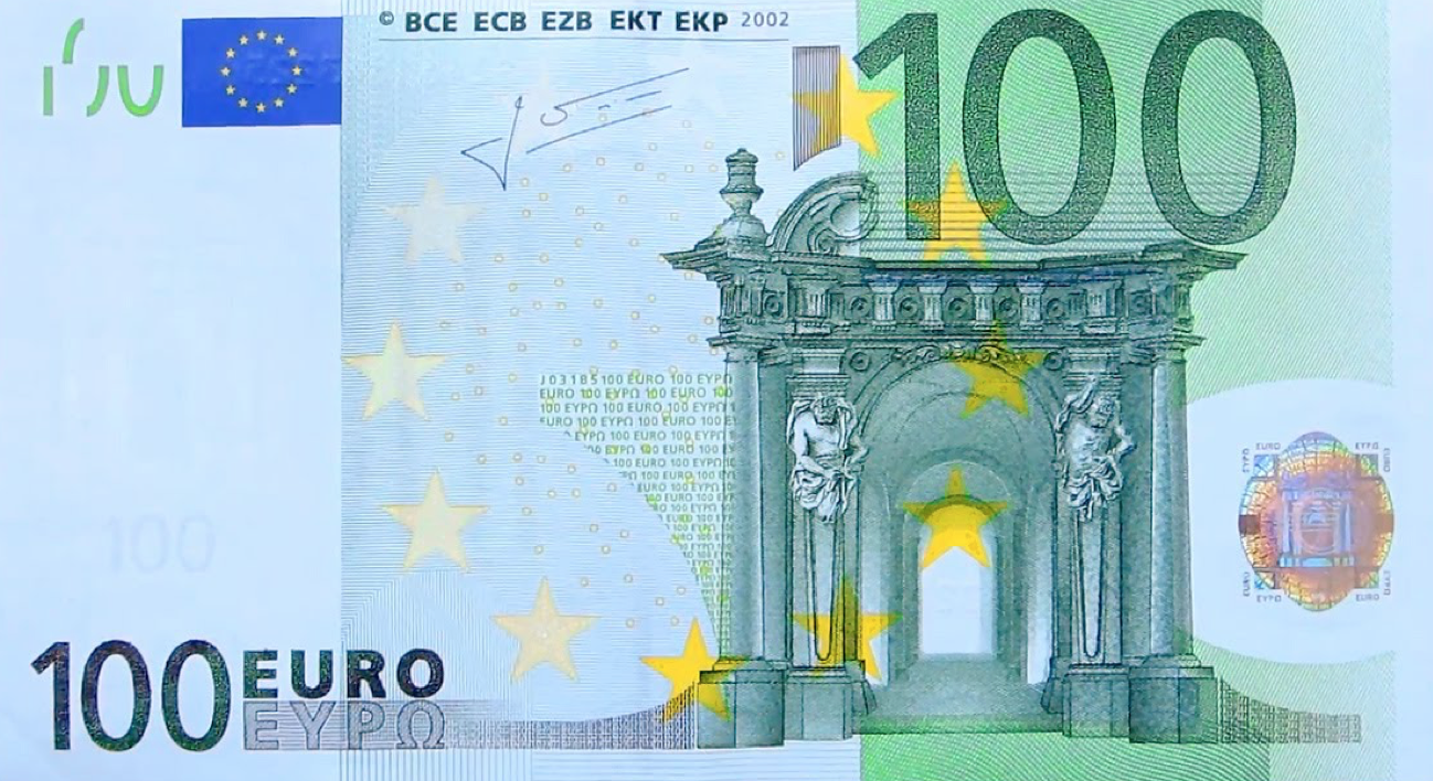 This is a photo of the front of the 100 Euro bill. This