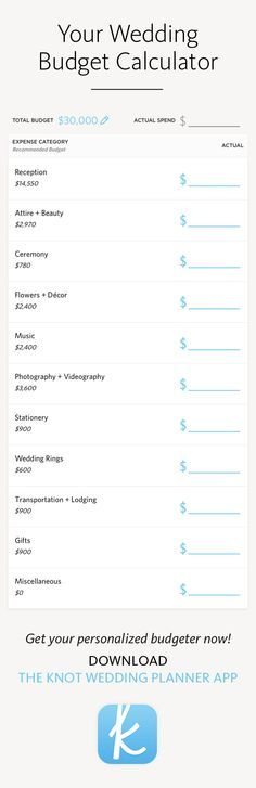 Your wedding budget calculator in The Knot\u0027s planner app -- what to - budget spreadsheet app
