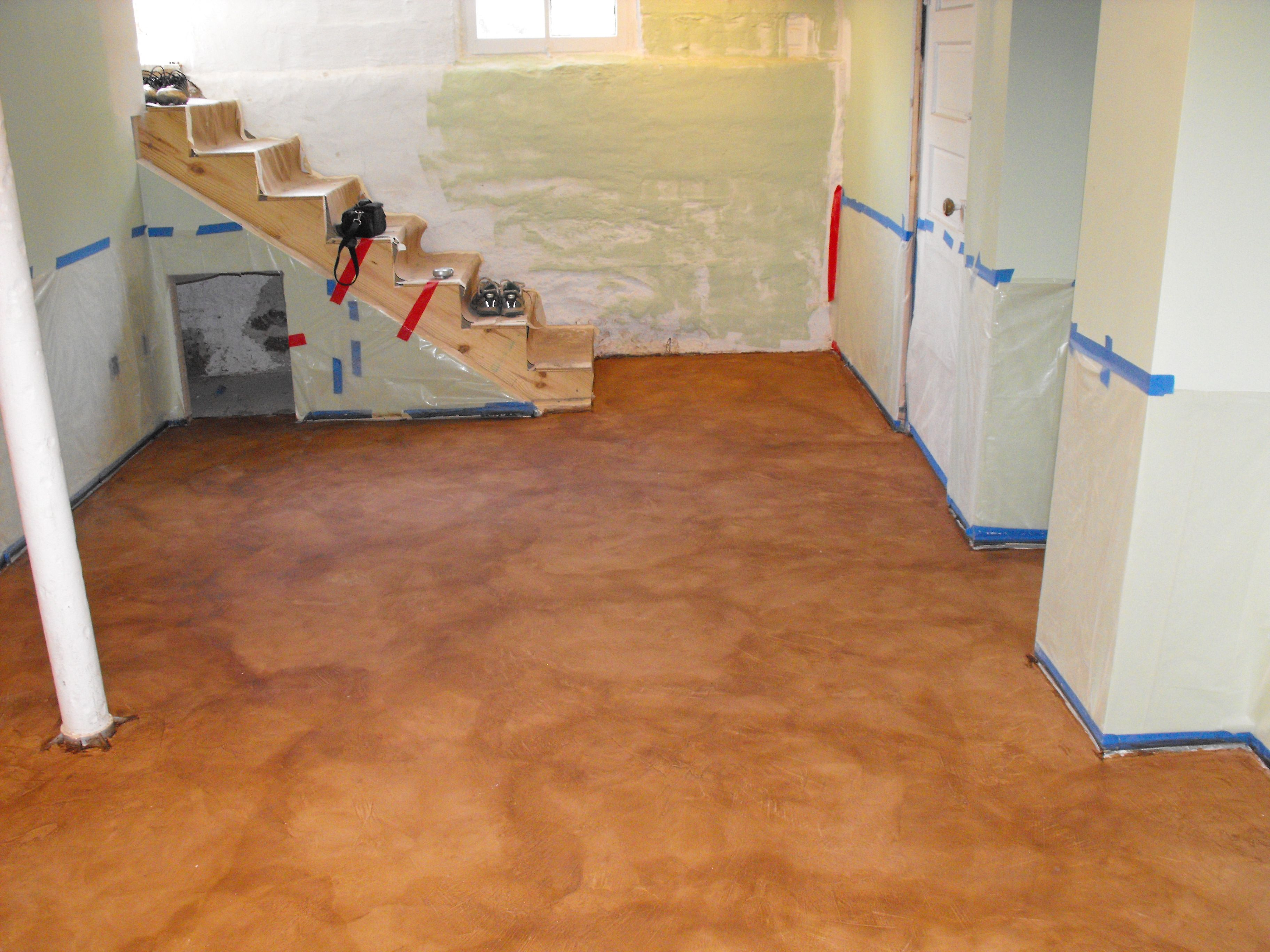 Stain On Concrete Basement Floor Fort Wayne In Nick Dancer Concrete 3 Jpg 3648 2736 Painted Concrete Floors Basement Flooring Options Flooring