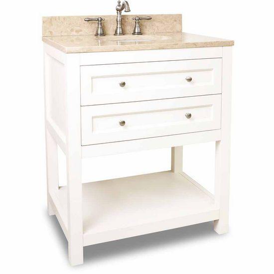 30 Inch Cream White Finish Single Sink Bathroom Vanity White