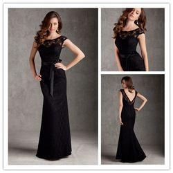 Online Shop New Fashion Scoop Lace Cap Sleeve Bridesmaid Dresses Backless Black Prom Party Gowns vestidos de fiesta|Aliexpress Mobile