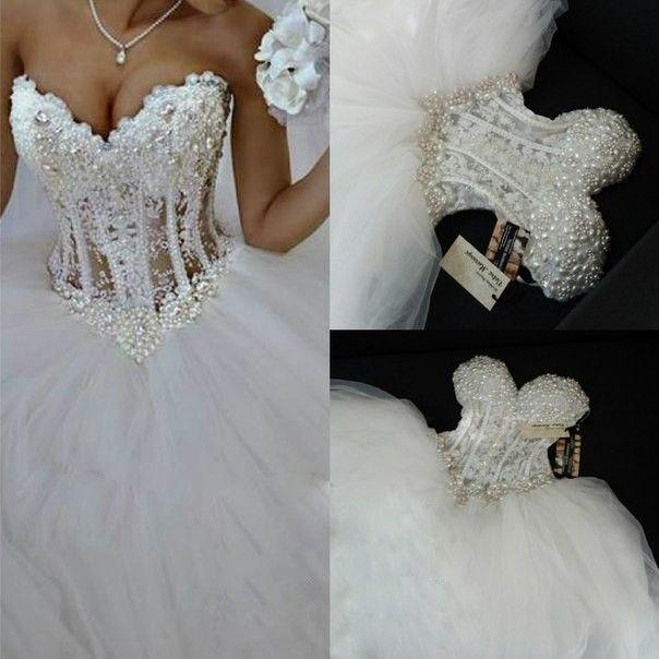 Tulle Ball Gown Pearl Beaded Strapless Wedding DressesBridal