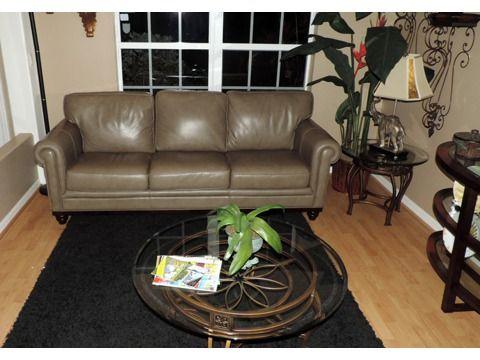 Martha Stewart Design Marble Leather Sofa