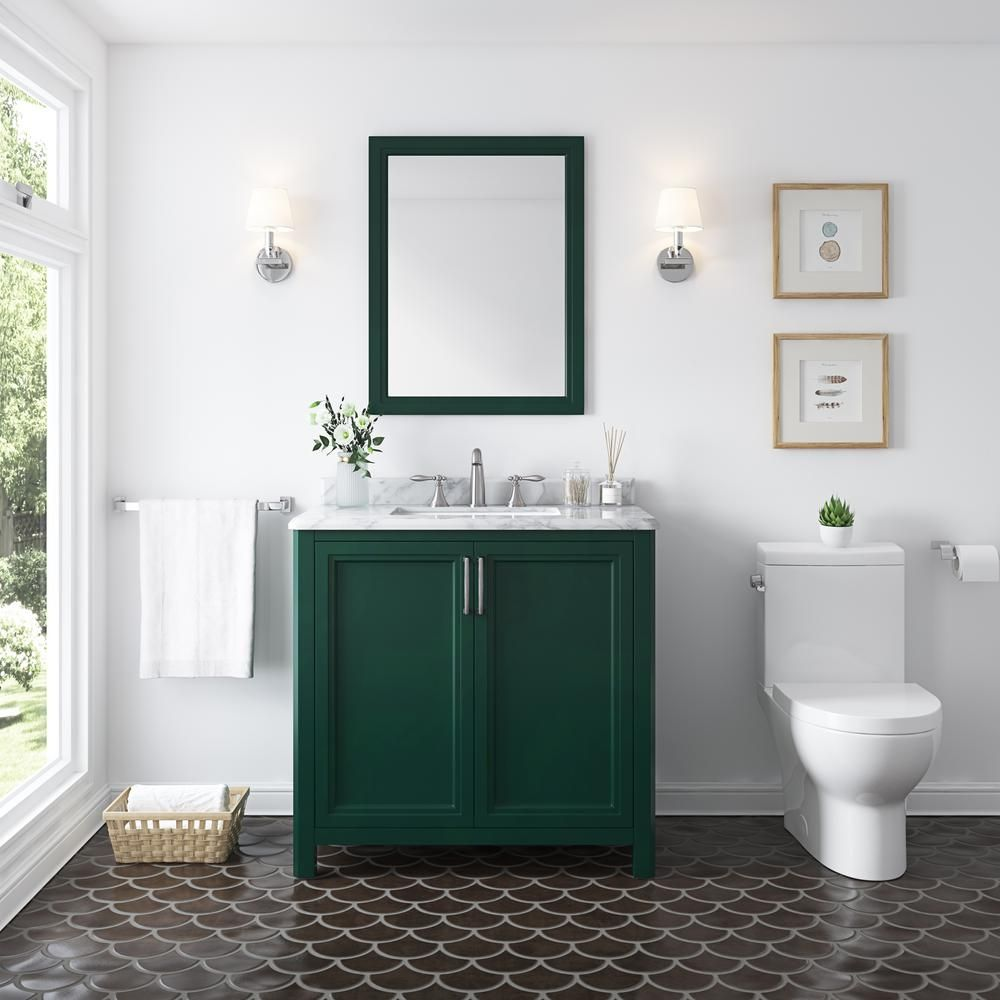 Home Decorators Collection Sandon 36 In W X 22 In D Bath Vanity In Emerald Green With Marble Vanity Top In Carrara White With White Basin Sandon 36eg The Ho In 2021