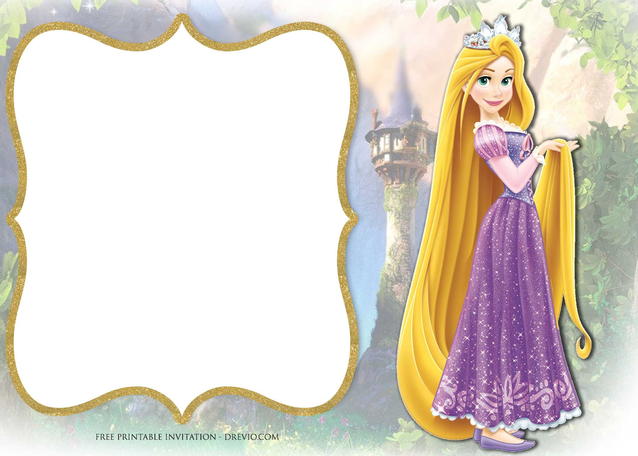 Free Printable Princess Rapunzel Invitation Templates Rapunzel Invitations Rapunzel Birthday Invitation Free Printable Birthday Invitations