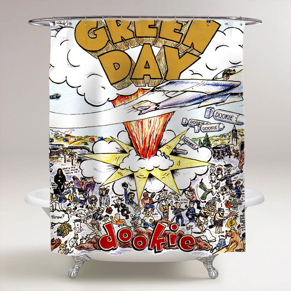 Green Day Dookie Bathroom Shower Curtain Green Day Dookie Green