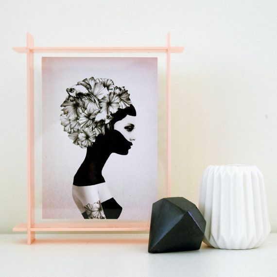 small acrylic box frame - blush pink A6 - perspex frame - floating ...