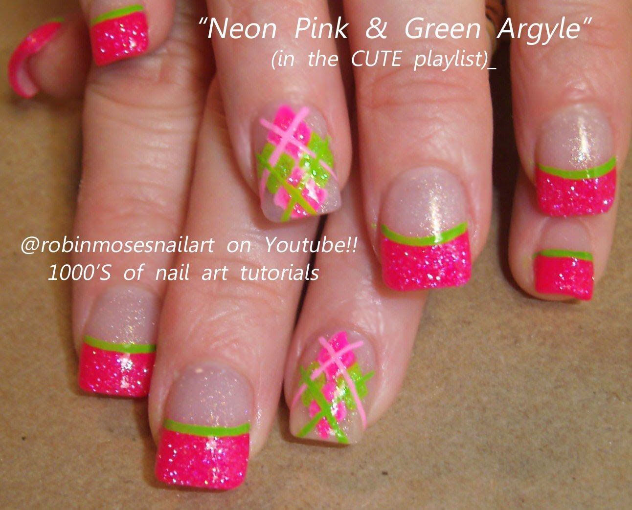 Pink and green nail tips. - Pink And Green Nail Tips. Nail Art Pinterest Nails, Nail Art