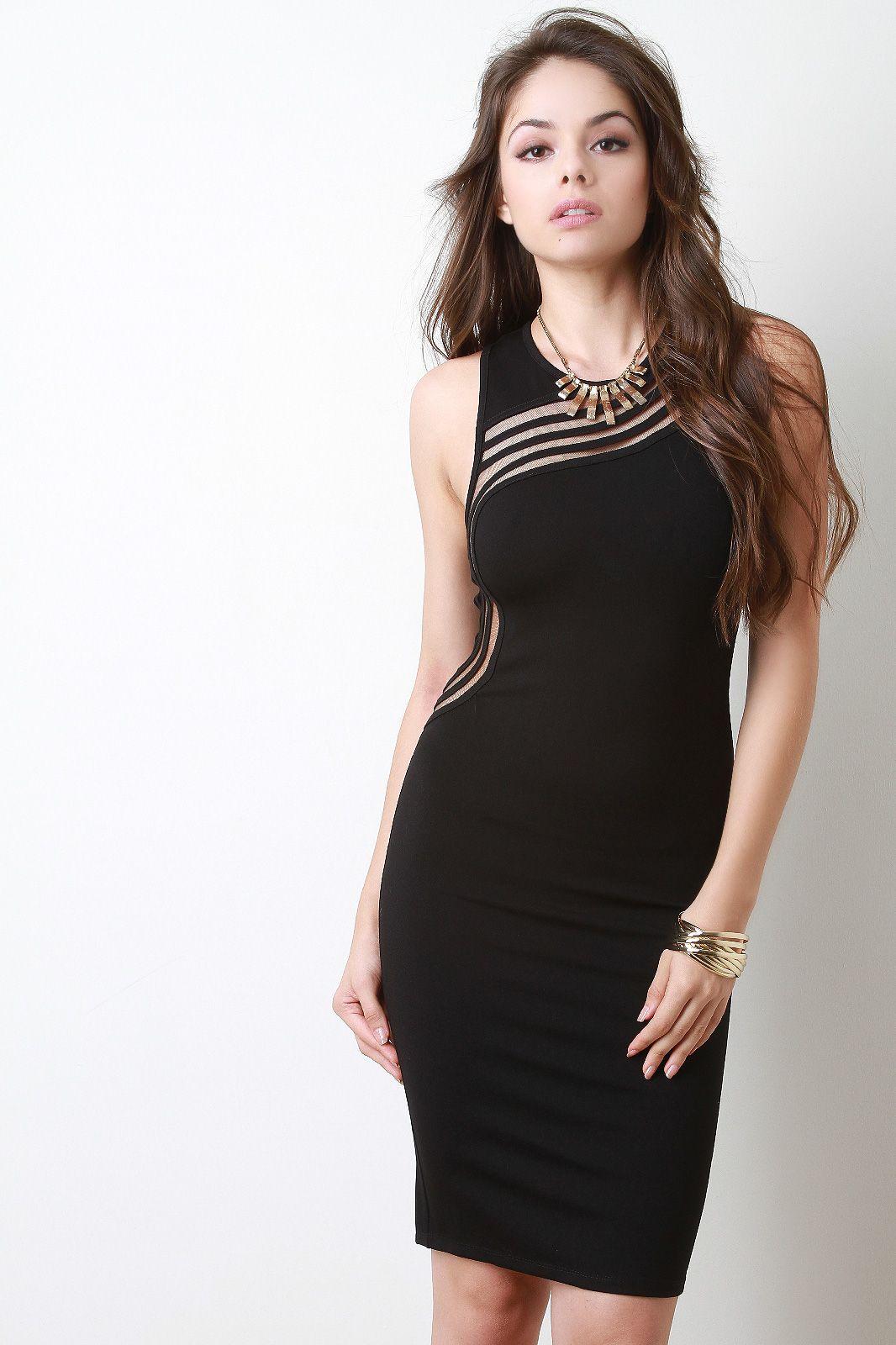 49++ Black sheer panel sleeveless bodycon dress trends