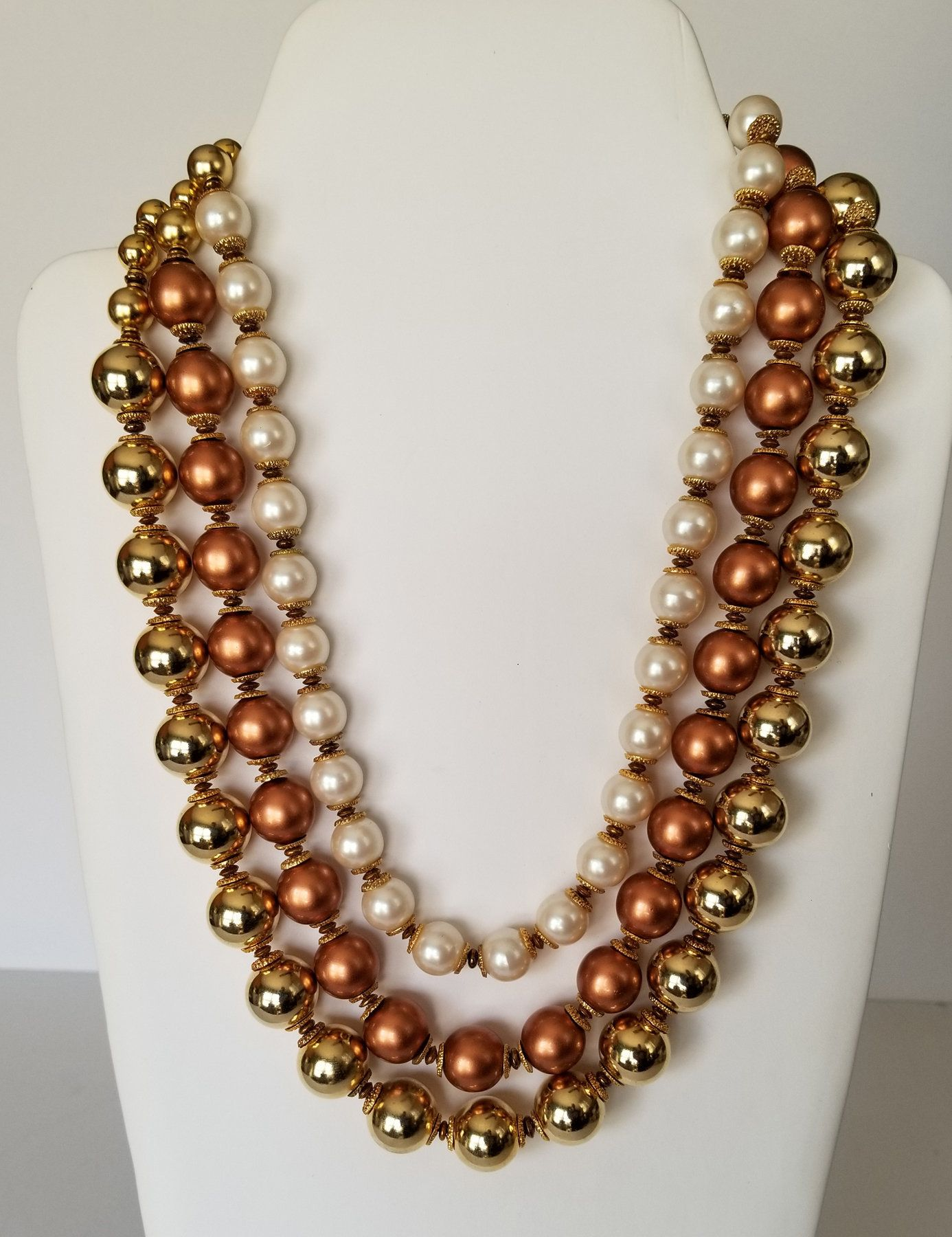E1 Sarah Coventry Signed Necklace Choker Gold Tone Three Strand Metal Textured Beaded