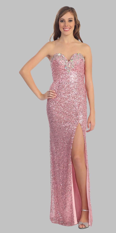 CLEARANCE - Luxurious Pink Sequin Long Formal Dress Strapless Open ...