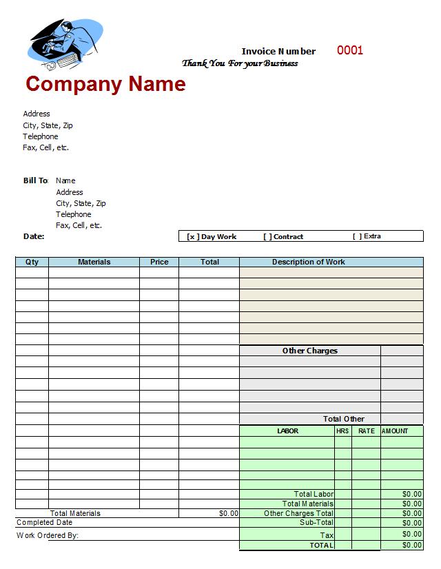 Home Repair Invoice Template Free Mechanics Invoice  Home Repair Invoice
