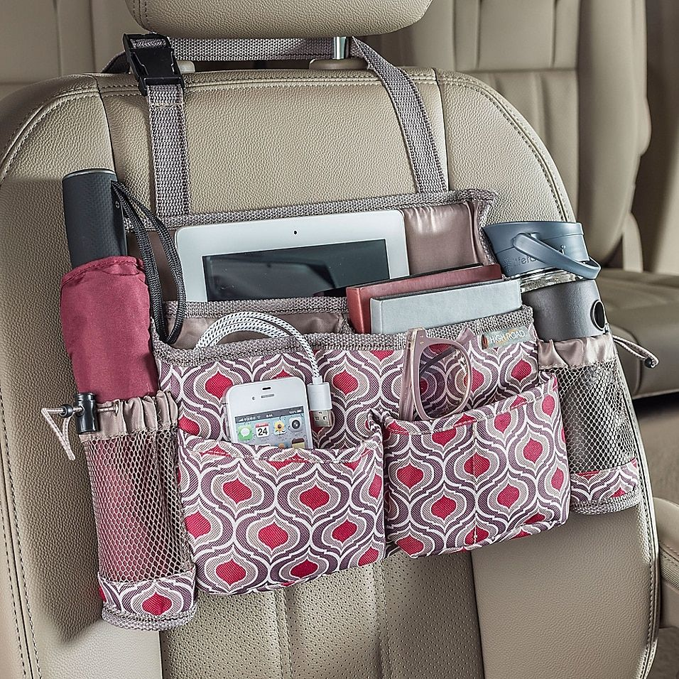High Road Swingaway Car Seat Organizer In Sahara - Keep car tidy with the High Road SwingAway Car Seat Organizer. This organizer has 8 protective pockets for iPads, tablets, notebooks, smartphones, tissues, and more. It features webbed strap buckles around headrest post for security while driving.