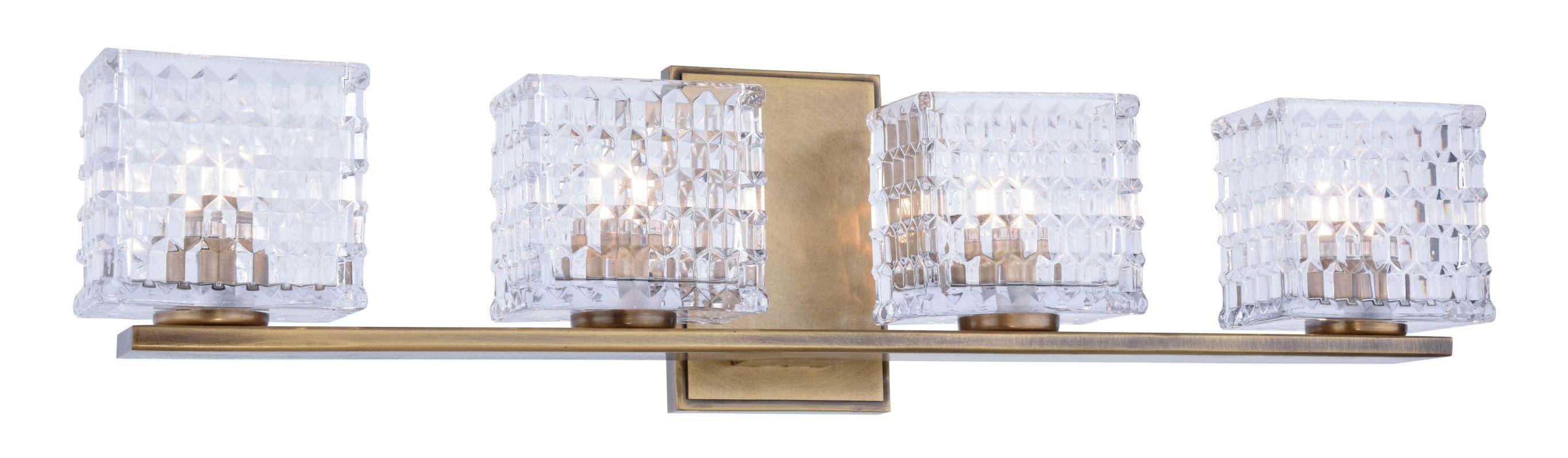 """Elegant Lighting 1519W25 Ankara 24.5"""" Wide 4 Light Contemporary Ambient ADA Vani Light Antique Brass Indoor Lighting Bathroom Fixtures Vanity Light"""