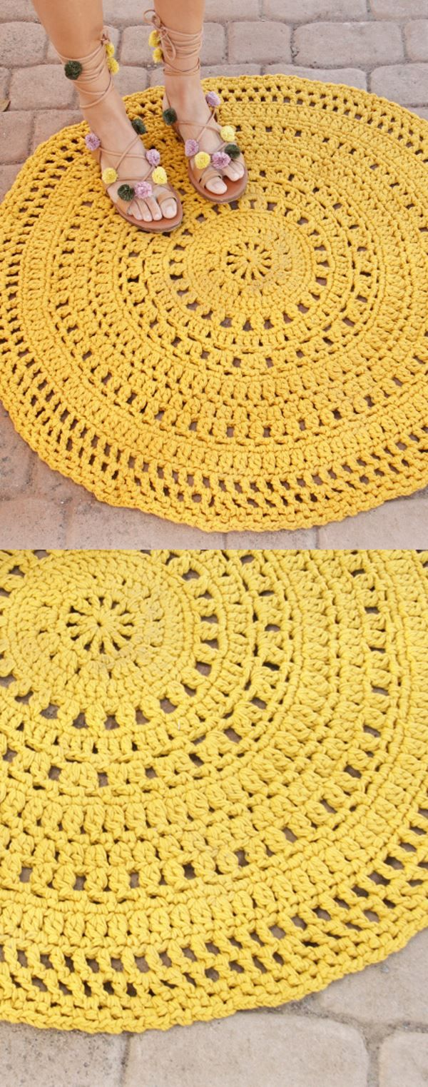 Free Crochet Pattern for a Round Carpet Rug #crochetpatterns