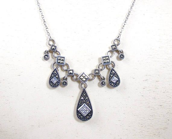 Vintage Jewelry 925 Silver Marcasite Drop Cubic Zirconia Pendant Necklace 18 Inches