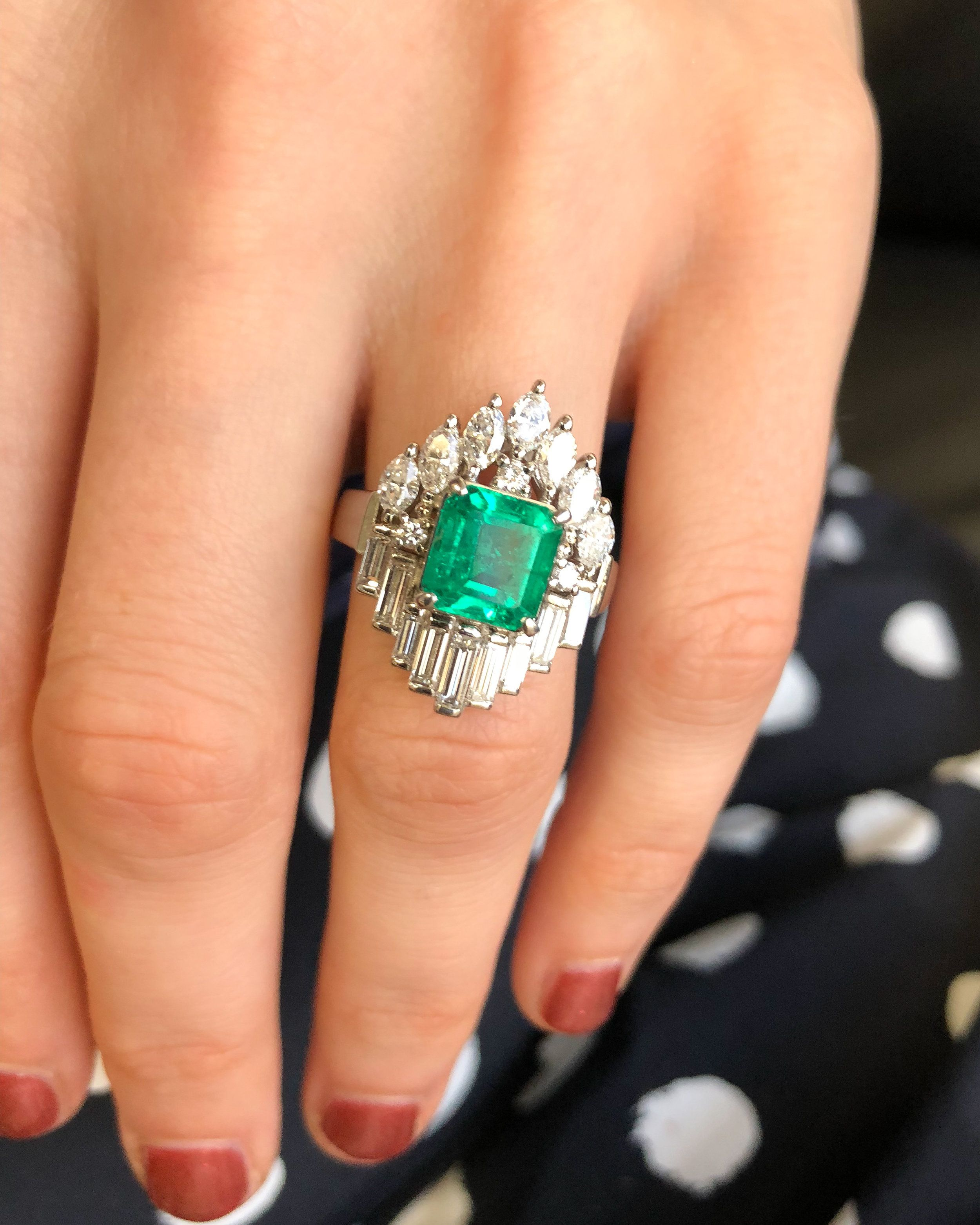 e32fd754e Art Deco Emerald Ring with Baguette & Marquise diamonds. A lone Asscher cut  emerald getting mobbed by a small army of diamonds - .