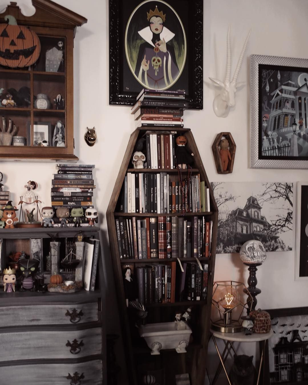 Christina On Instagram Where Do You Keep Your Thoughts Coffin Bookshelf Is By Halloweenpsycho With Images Goth Home Decor