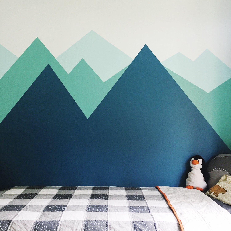 Boys Bedroom Painted Mountain Wall Mural Diy And Buffalo Check