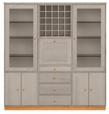 Room & Board   Modern Linear Storage Cabinet 16d 74w 77h in Shell Stain Maple Wood with Wood Base   Cherry Wood Pulls