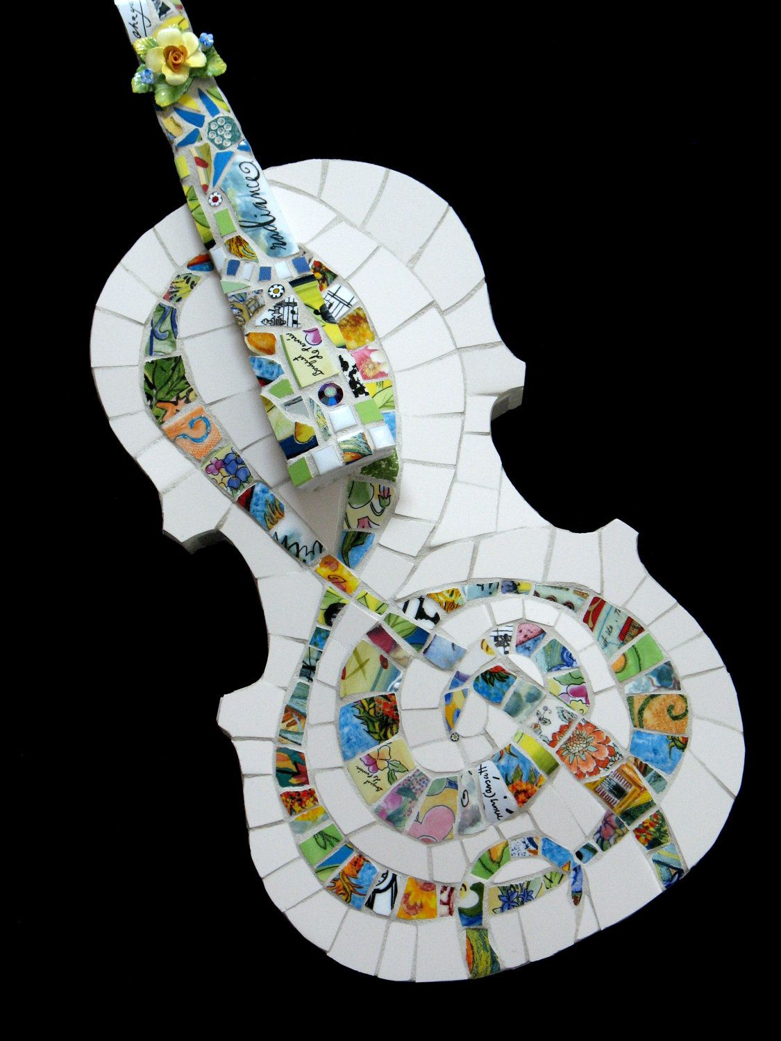 Mosaic Violin - Mosaic ART Musical Instrument. $545.00, via Etsy. #musicalinstruments