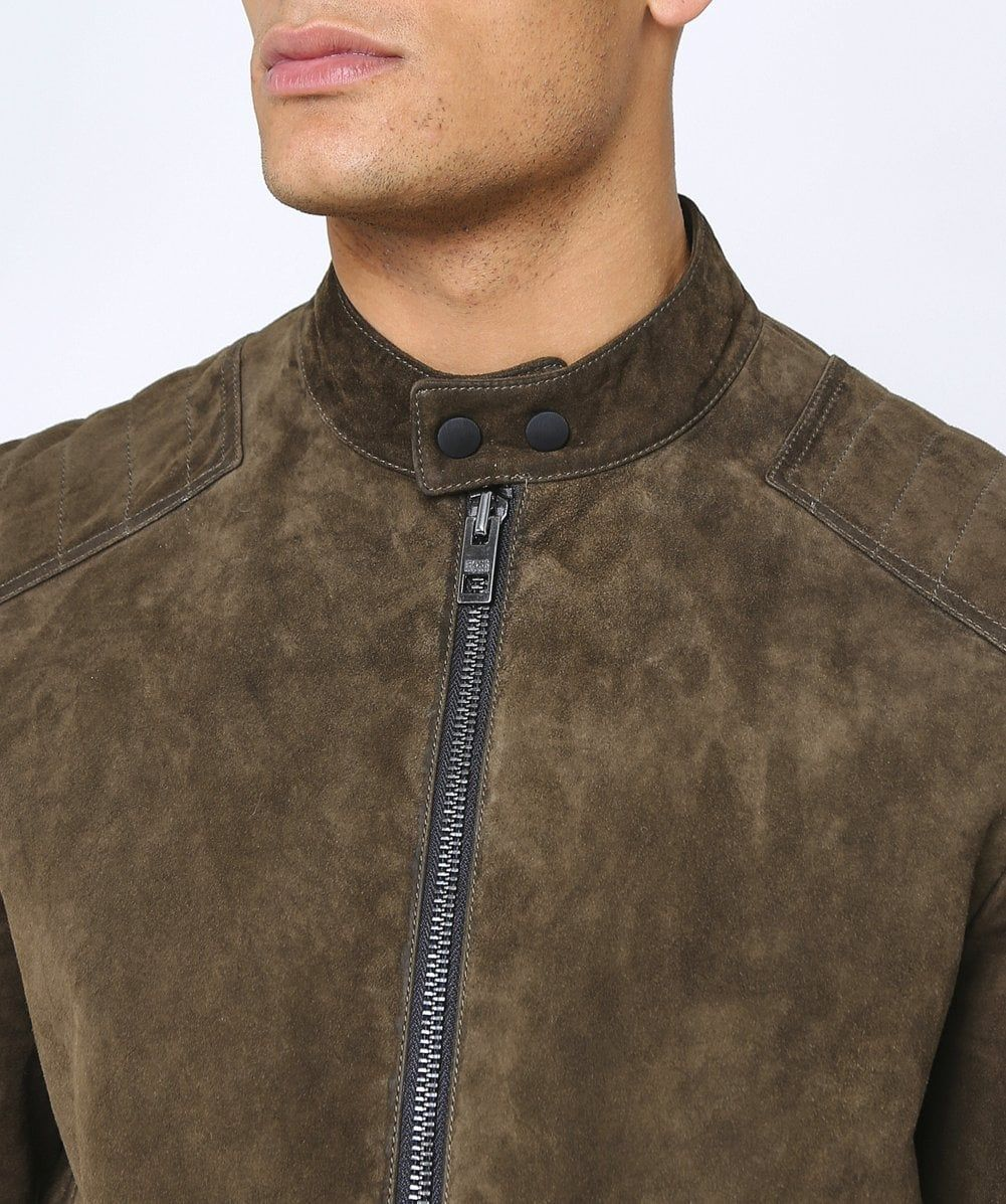 BOSS Suede Jaydee Biker Jacket Leather jacket men, Biker