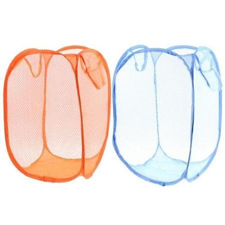 2pcs Orange Blue Foldable Meshy Clothes Storage Pop Up Laundry Basket Hamper - Walmart.com