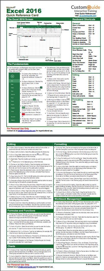 Excel 2016 Quick Reference Card. http//www.customguide