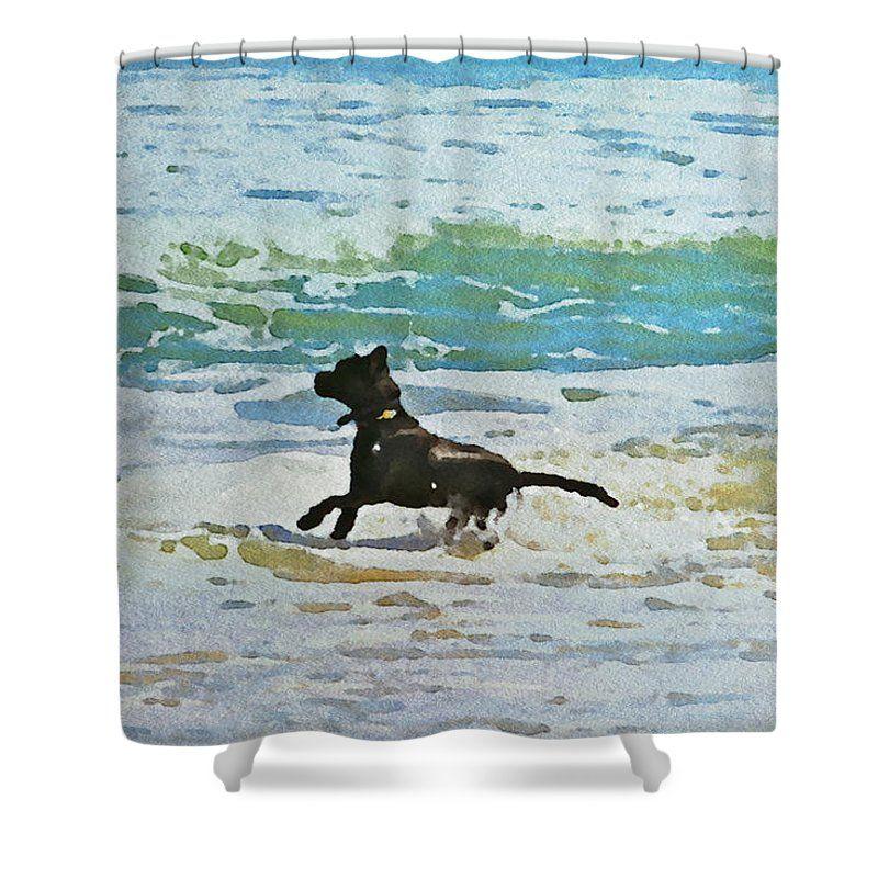 Dog Labrador Ocean Beach Watercolor Shower Curtain Featuring The Photograph  Beach Doggie By Alice Gipson