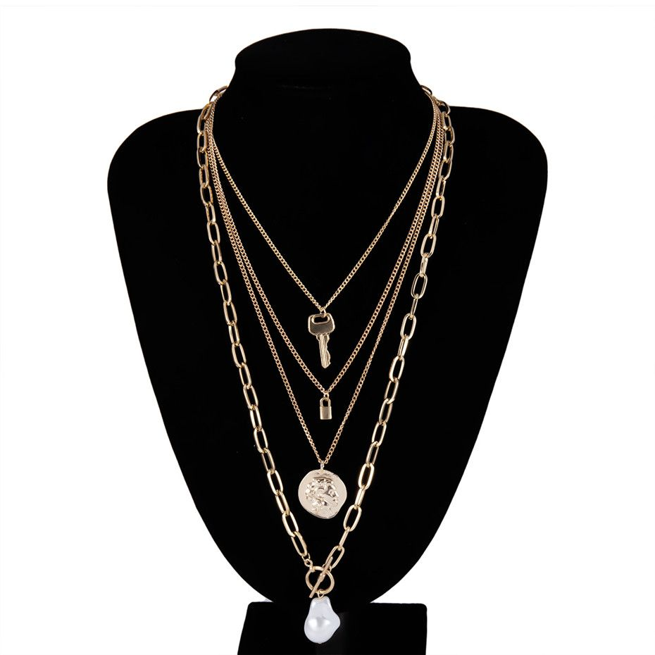 Photo of Pearl Choker Necklace Lock Carved Coin Pendant Necklace – Golden