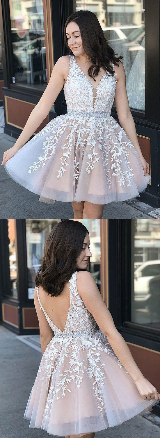 Champagne lace tulle short prom dress homecoming dress in