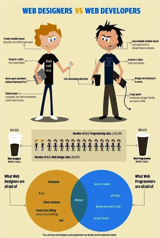 Infographics Ui Design Et Web Design: Web Designers Vs Web Developers