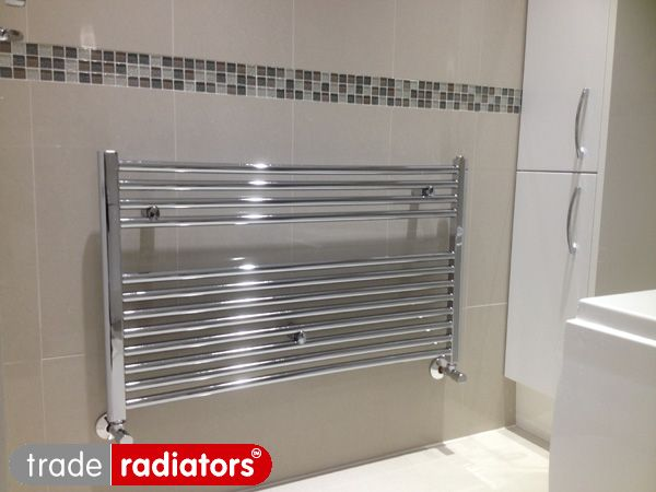 Brushed Chrome Bathroom Radiators: Nabila Moughal's Chrome Straight Heated Towel Rail